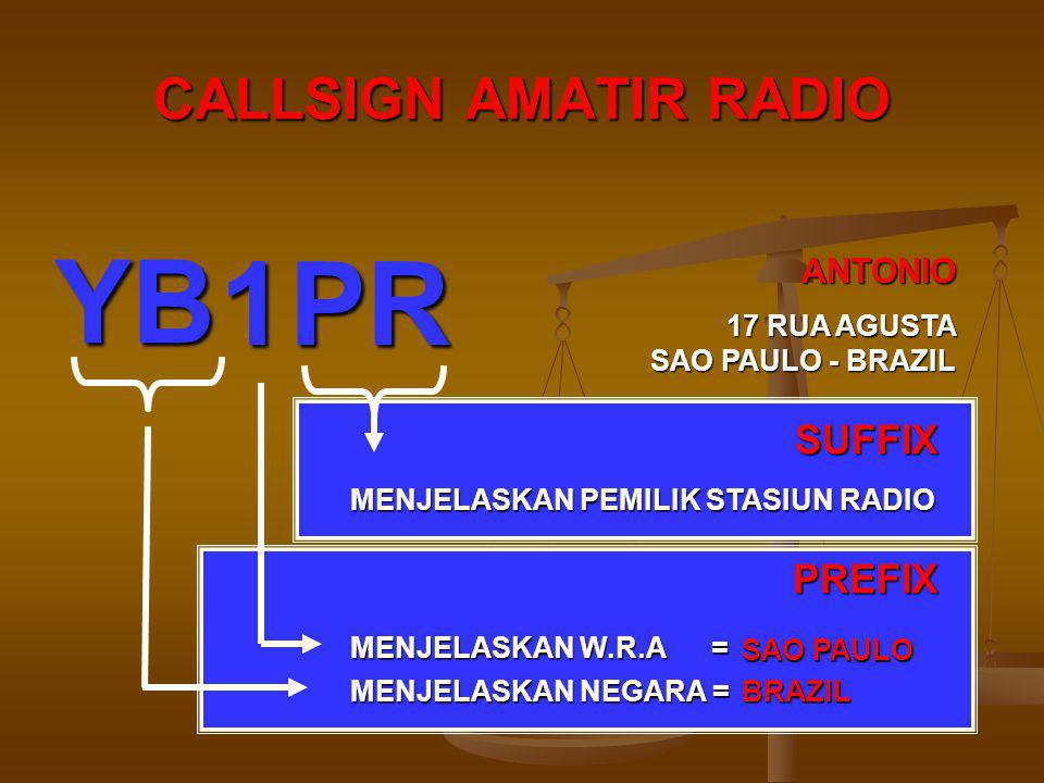 CALLSIGN AMATIR RADIO MENJELASKAN NEGARA = INDONESIA MENJELASKAN W.R.A = JAWA BARAT MENJELASKAN PEMILIK STASIUN RADIO PREFIX SUFFIX ANTONIO 17 RUA AGUSTA SAO PAULO - BRAZIL YB 1PR BRAZIL SAO PAULO