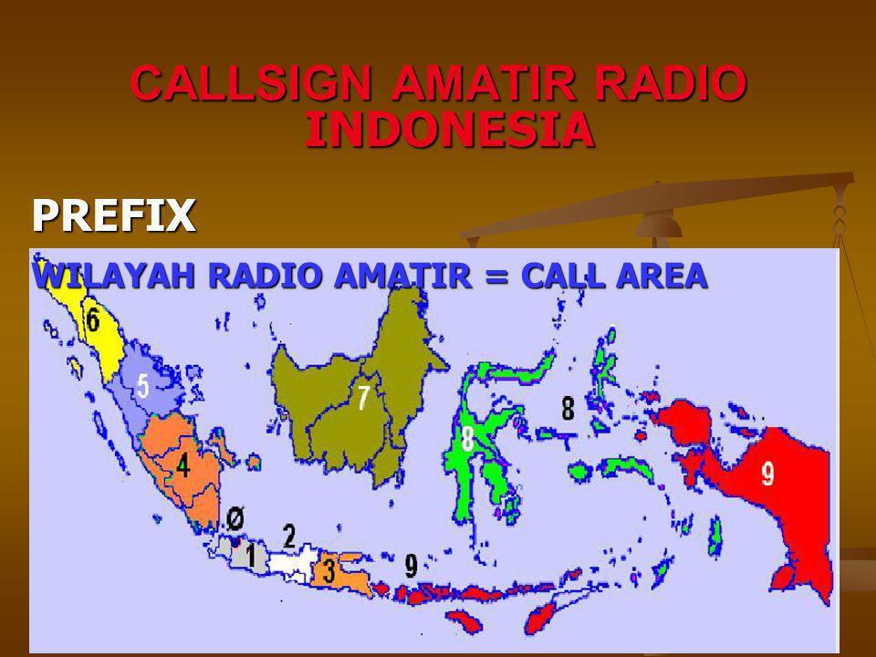 WILAYAH RADIO AMATIR = CALL AREA INDONESIA PREFIX