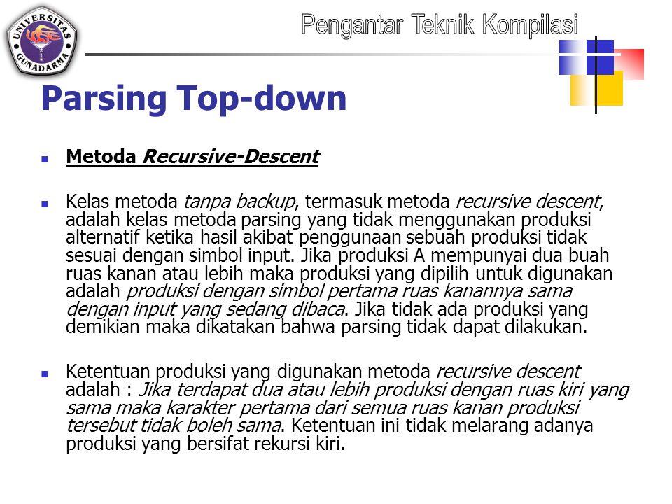 Parsing Top-down Metoda Recursive-Descent Kelas metoda tanpa backup, termasuk metoda recursive descent, adalah kelas metoda parsing yang tidak menggun