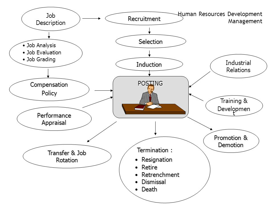 "Human Resources Management ""Functions"" 1.Employment 2.Wage & Compensation Administration 3.Industrial Relations 4.Training & Development 5.Government"