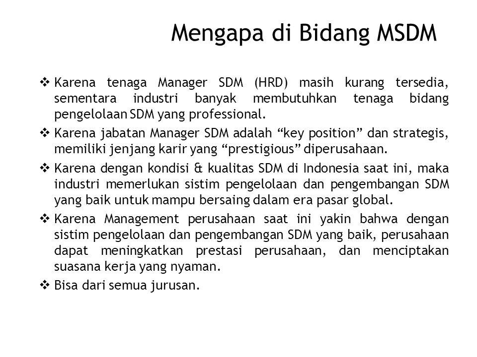 Mengapa di Bidang MSDM  Karena tenaga Manager SDM (HRD) masih kurang tersedia, sementara industri banyak membutuhkan tenaga bidang pengelolaan SDM yang professional.
