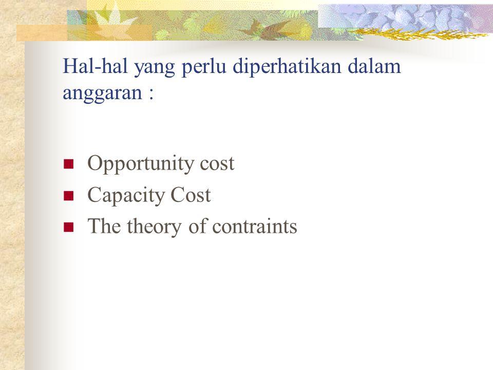 Hal-hal yang perlu diperhatikan dalam anggaran : Opportunity cost Capacity Cost The theory of contraints