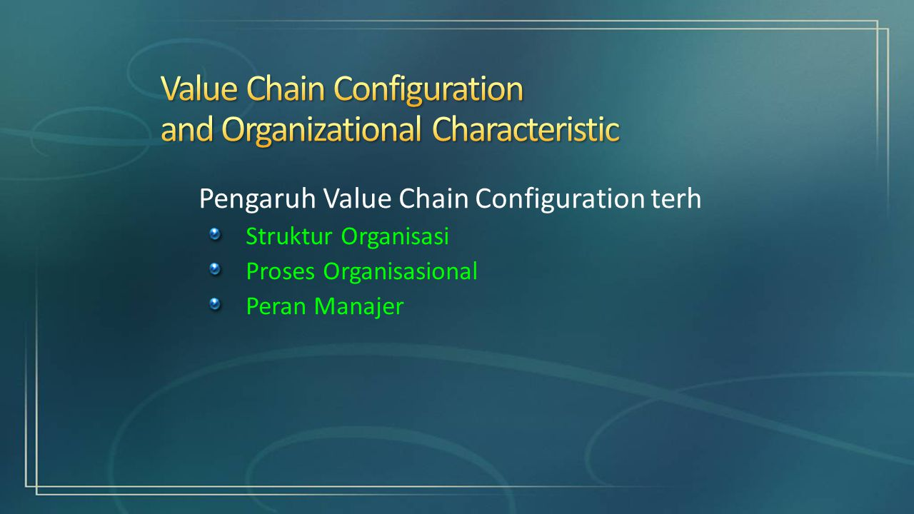 Pengaruh Value Chain Configuration terh Struktur Organisasi Proses Organisasional Peran Manajer