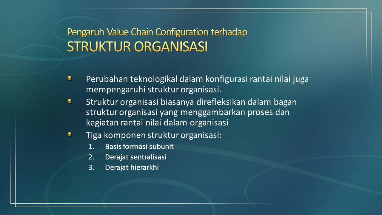 Perubahan teknologikal dalam konfigurasi rantai nilai juga mempengaruhi struktur organisasi. Struktur organisasi biasanya direfleksikan dalam bagan st