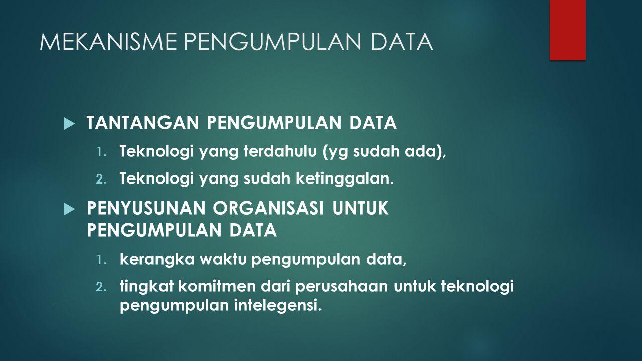 MEKANISME PENGUMPULAN DATA  TANTANGAN PENGUMPULAN DATA 1. Teknologi yang terdahulu (yg sudah ada), 2. Teknologi yang sudah ketinggalan.  PENYUSUNAN