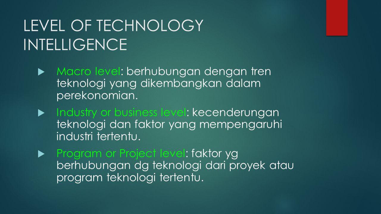 LEVEL OF TECHNOLOGY INTELLIGENCE  Macro level: berhubungan dengan tren teknologi yang dikembangkan dalam perekonomian.  Industry or business level: