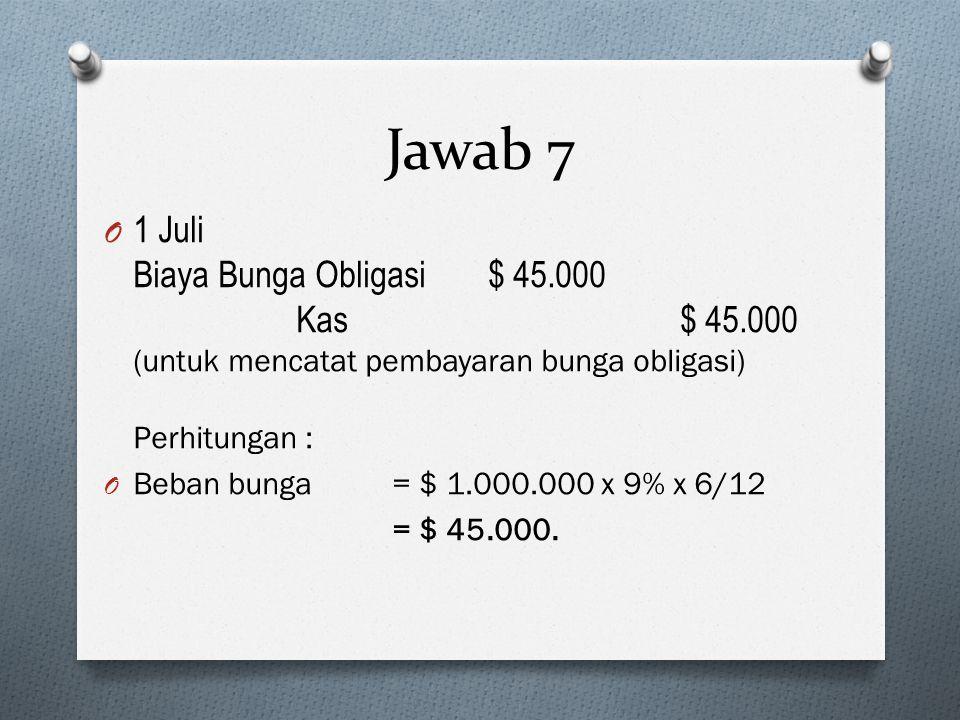O 1 Juli Biaya Bunga Obligasi $ 45.000 Kas $ 45.000 (untuk mencatat pembayaran bunga obligasi) Perhitungan : O Beban bunga = $ 1.000.000 x 9% x 6/12 =