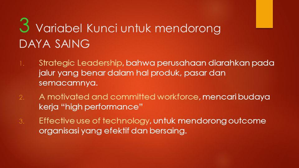 3 Variabel Kunci untuk mendorong DAYA SAING 1. Strategic Leadership, bahwa perusahaan diarahkan pada jalur yang benar dalam hal produk, pasar dan sema