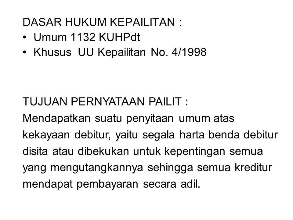 DASAR HUKUM KEPAILITAN : Umum 1132 KUHPdt Khusus UU Kepailitan No. 4/1998 TUJUAN PERNYATAAN PAILIT : Mendapatkan suatu penyitaan umum atas kekayaan de