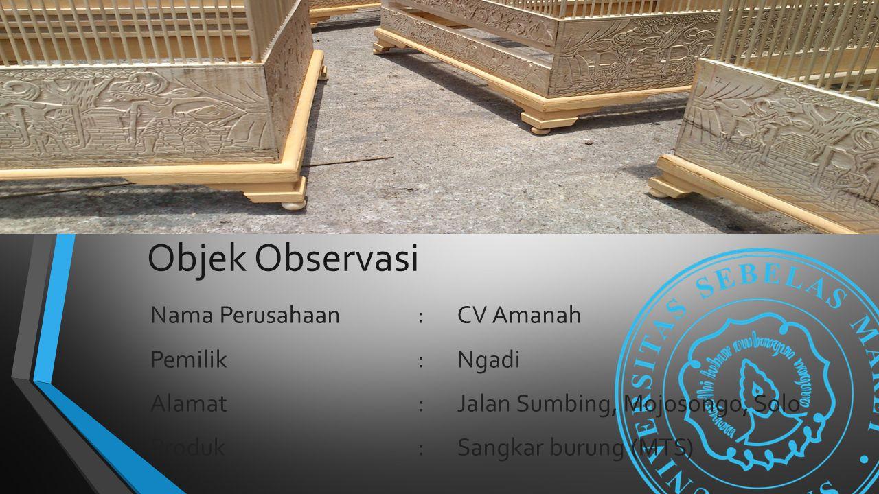 Objek Observasi Nama Perusahaan:CV Amanah Pemilik:Ngadi Alamat:Jalan Sumbing, Mojosongo, Solo Produk:Sangkar burung (MTS)