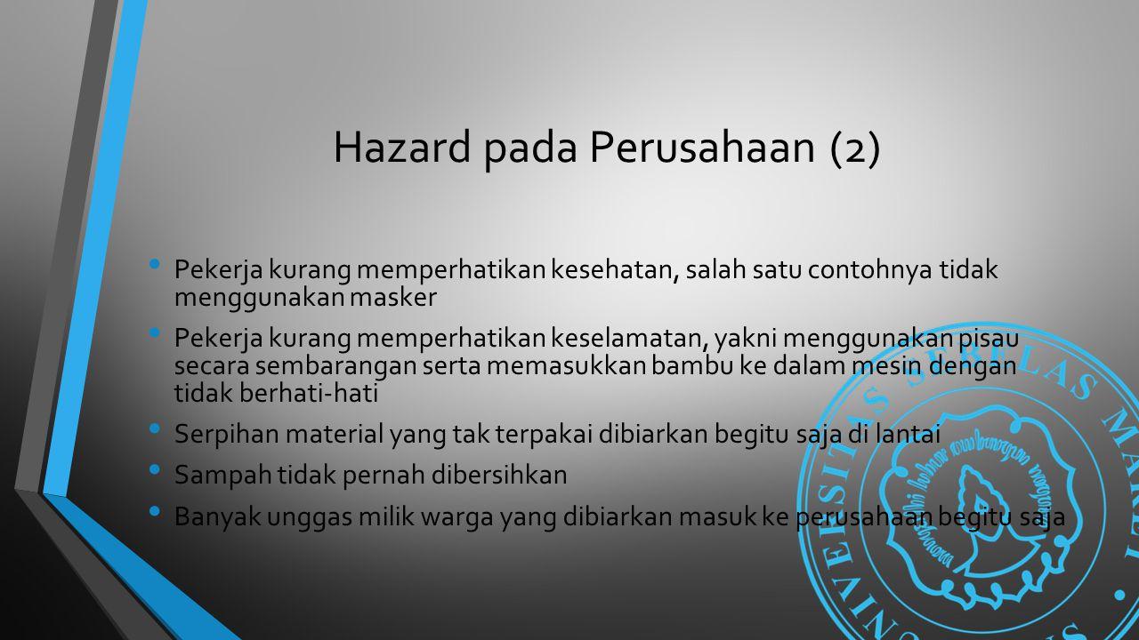 Hazard pada Perusahaan (2) Pekerja kurang memperhatikan kesehatan, salah satu contohnya tidak menggunakan masker Pekerja kurang memperhatikan keselama