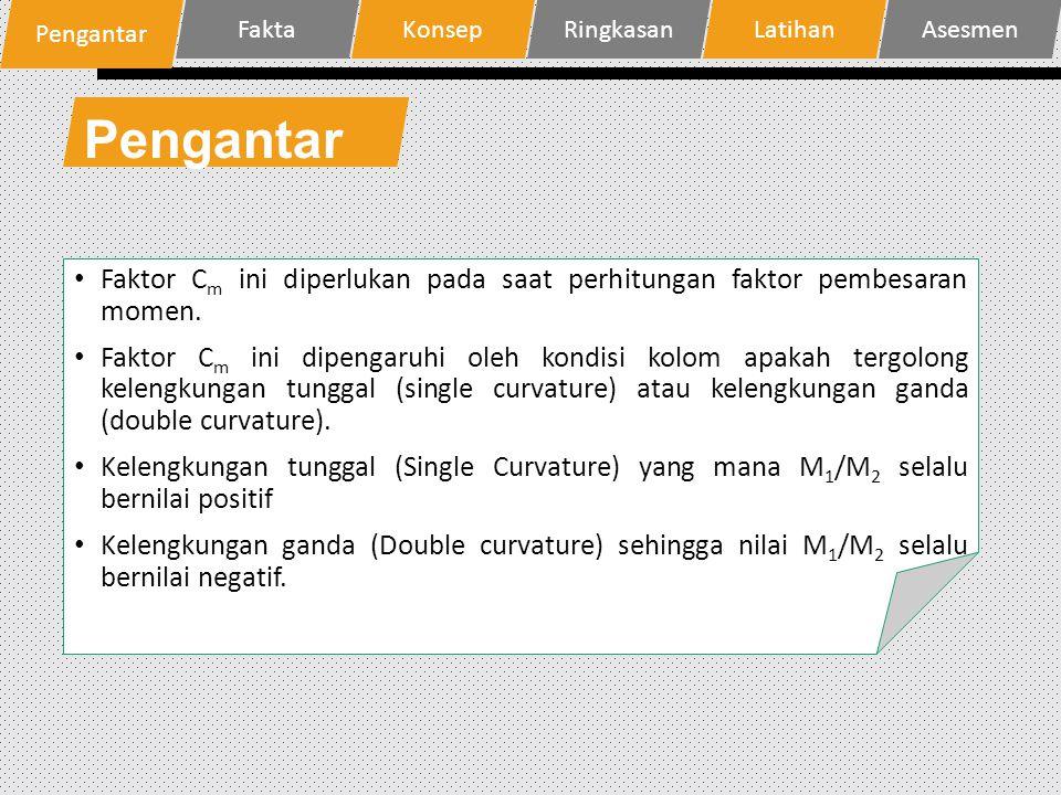 Pengantar Faktor C m ini diperlukan pada saat perhitungan faktor pembesaran momen. Faktor C m ini dipengaruhi oleh kondisi kolom apakah tergolong kele