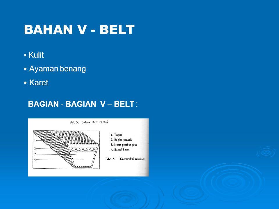 JENIS-JENIS V-BELT  Tipe standar; ditandai huruf A, B, C, D, & E  Tipe sempit; ditandai simbol 3V, 5V, & 8V  Tipe untuk beban ringan; ditandai dengan 3L, 4L, & 5L