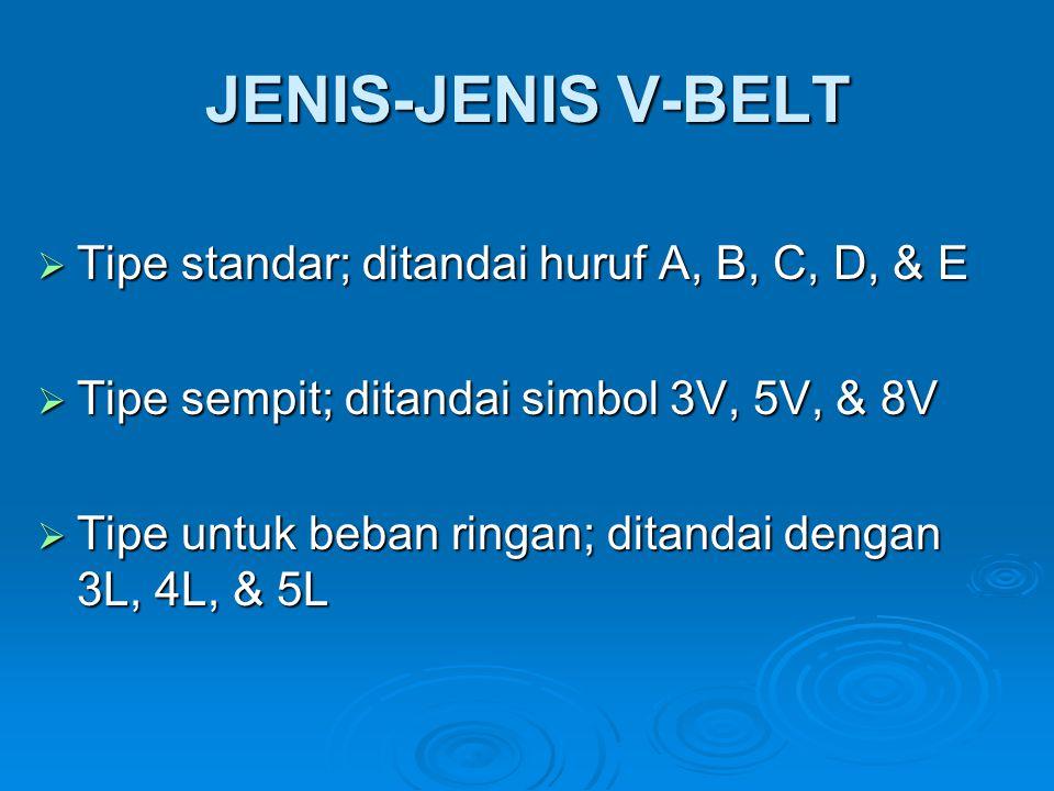 JENIS-JENIS V-BELT  Tipe standar; ditandai huruf A, B, C, D, & E  Tipe sempit; ditandai simbol 3V, 5V, & 8V  Tipe untuk beban ringan; ditandai deng