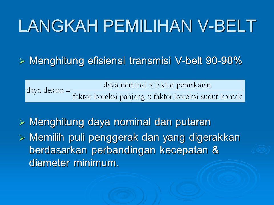 LANGKAH PEMILIHAN V-BELT  Menghitung efisiensi transmisi V-belt 90-98%  Menghitung daya nominal dan putaran  Memilih puli penggerak dan yang digera