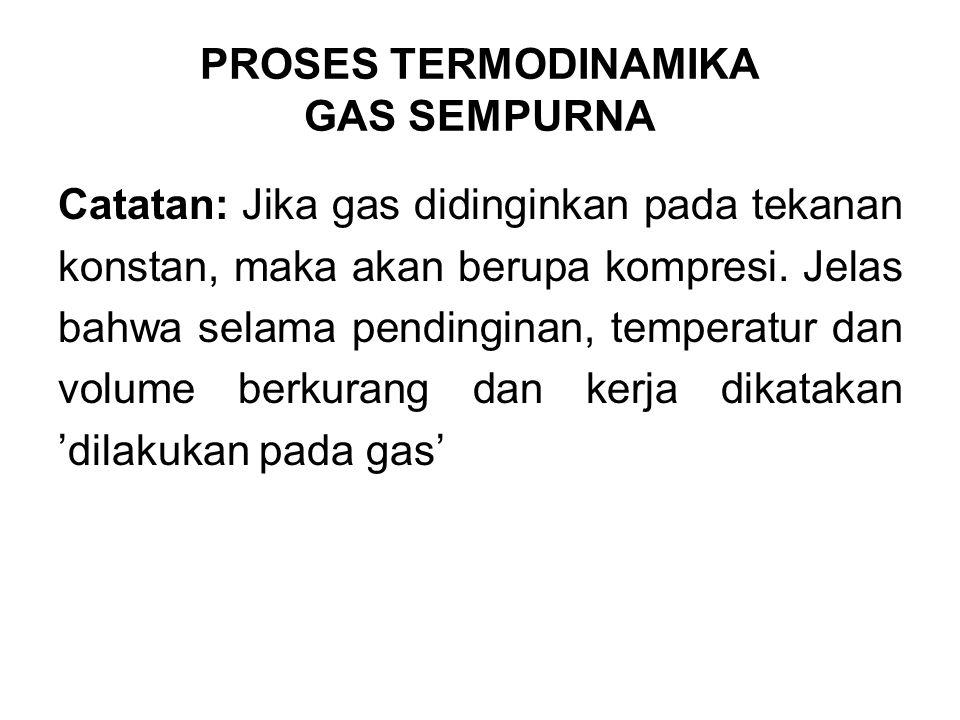 Catatan: Jika gas didinginkan pada tekanan konstan, maka akan berupa kompresi. Jelas bahwa selama pendinginan, temperatur dan volume berkurang dan ker