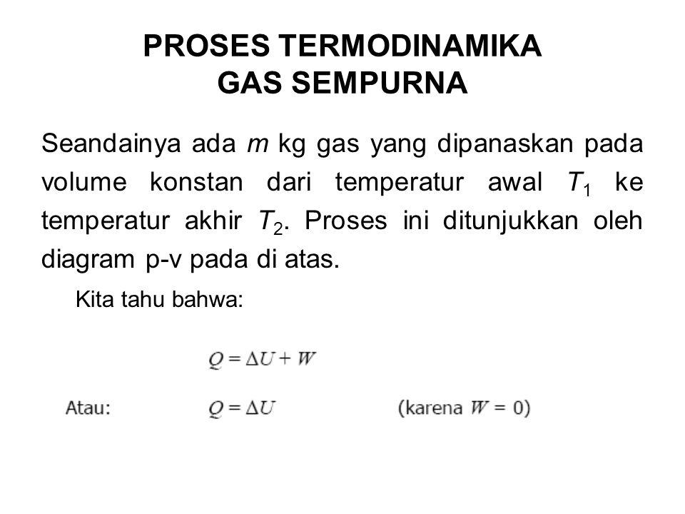 Seandainya ada m kg gas yang dipanaskan pada volume konstan dari temperatur awal T 1 ke temperatur akhir T 2. Proses ini ditunjukkan oleh diagram p-v