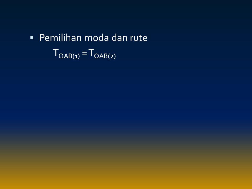  Pemilihan moda dan rute T QAB(1) = T QAB(2)