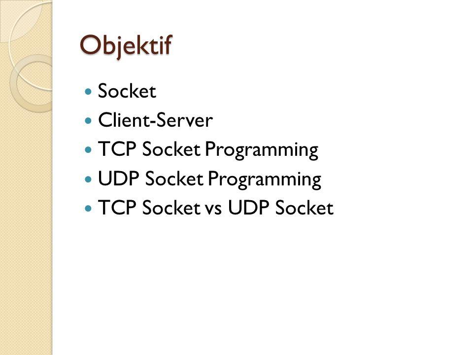 Objektif Socket Client-Server TCP Socket Programming UDP Socket Programming TCP Socket vs UDP Socket