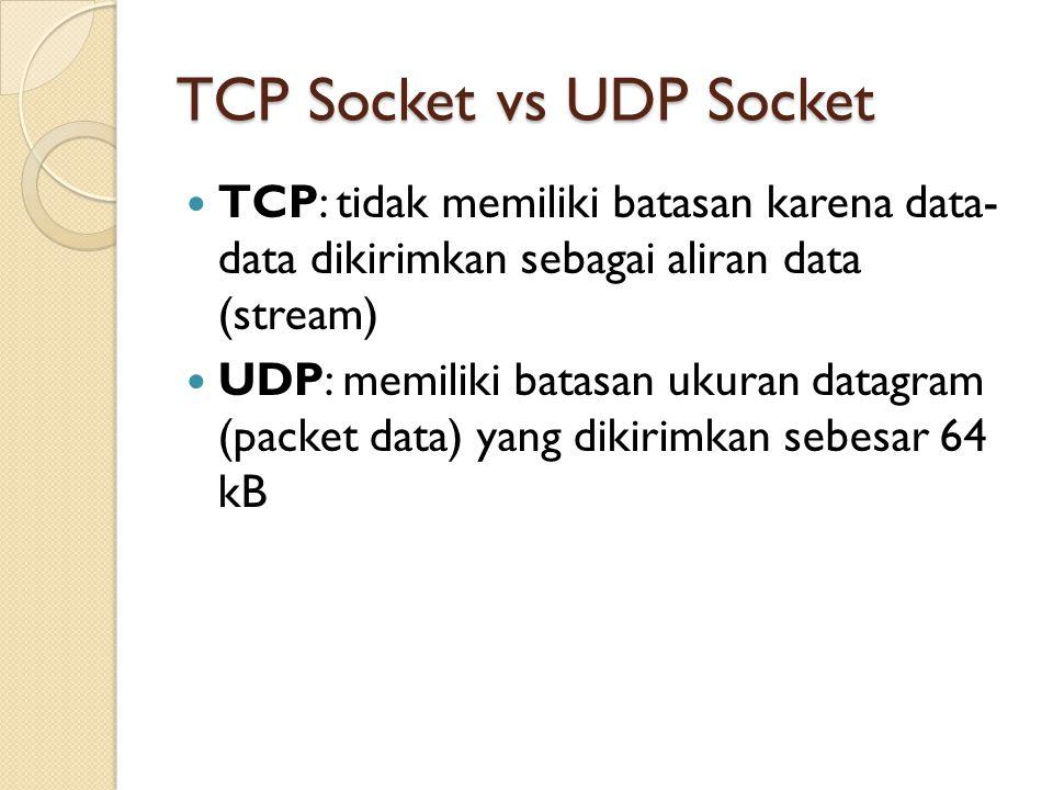 TCP Socket vs UDP Socket TCP: tidak memiliki batasan karena data- data dikirimkan sebagai aliran data (stream) UDP: memiliki batasan ukuran datagram (packet data) yang dikirimkan sebesar 64 kB