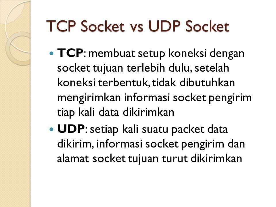 TCP Socket vs UDP Socket TCP: membuat setup koneksi dengan socket tujuan terlebih dulu, setelah koneksi terbentuk, tidak dibutuhkan mengirimkan informasi socket pengirim tiap kali data dikirimkan UDP: setiap kali suatu packet data dikirim, informasi socket pengirim dan alamat socket tujuan turut dikirimkan