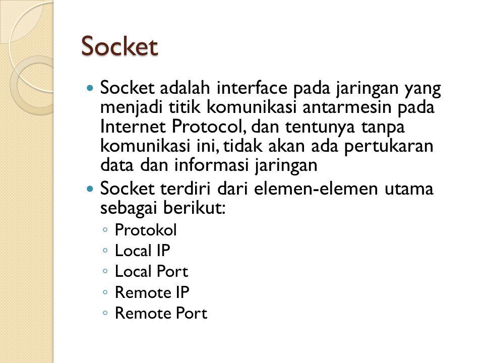 Socket Socket adalah interface pada jaringan yang menjadi titik komunikasi antarmesin pada Internet Protocol, dan tentunya tanpa komunikasi ini, tidak akan ada pertukaran data dan informasi jaringan Socket terdiri dari elemen-elemen utama sebagai berikut: ◦ Protokol ◦ Local IP ◦ Local Port ◦ Remote IP ◦ Remote Port