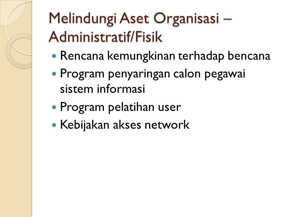 Melindungi Aset Organisasi – Administratif/Fisik Rencana kemungkinan terhadap bencana Program penyaringan calon pegawai sistem informasi Program pelat