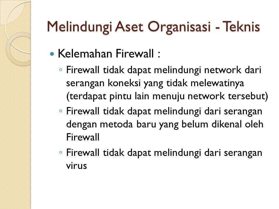 Melindungi Aset Organisasi - Teknis Kelemahan Firewall : ◦ Firewall tidak dapat melindungi network dari serangan koneksi yang tidak melewatinya (terda