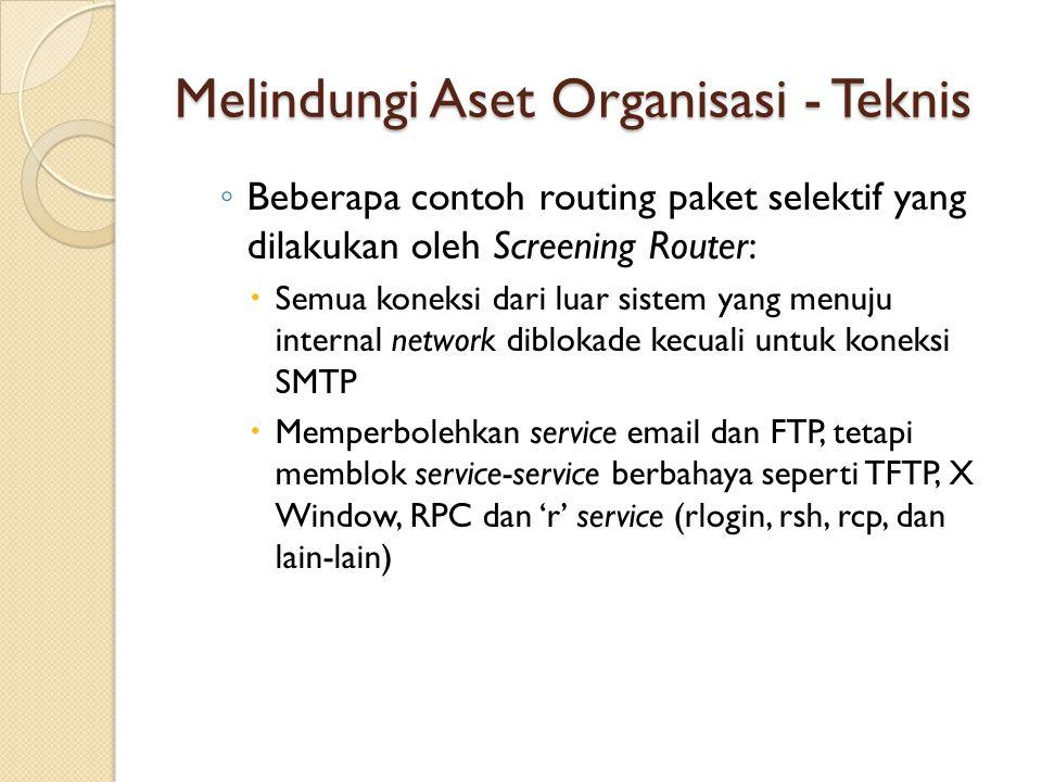 Melindungi Aset Organisasi - Teknis ◦ Beberapa contoh routing paket selektif yang dilakukan oleh Screening Router:  Semua koneksi dari luar sistem ya