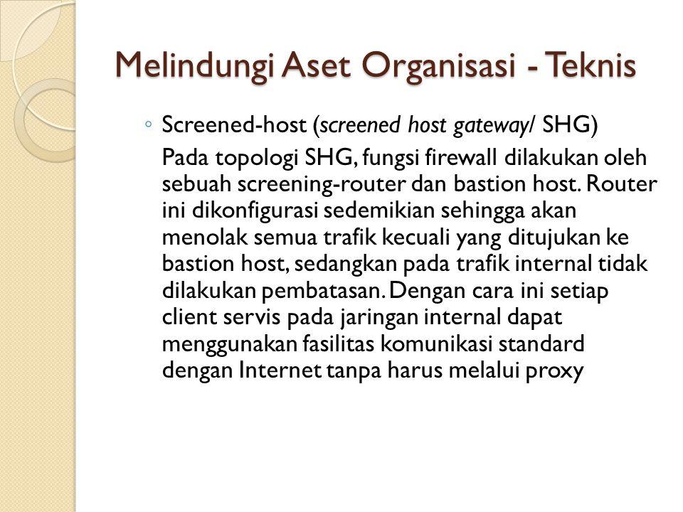 ◦ Screened-host (screened host gateway/ SHG) Pada topologi SHG, fungsi firewall dilakukan oleh sebuah screening-router dan bastion host. Router ini di