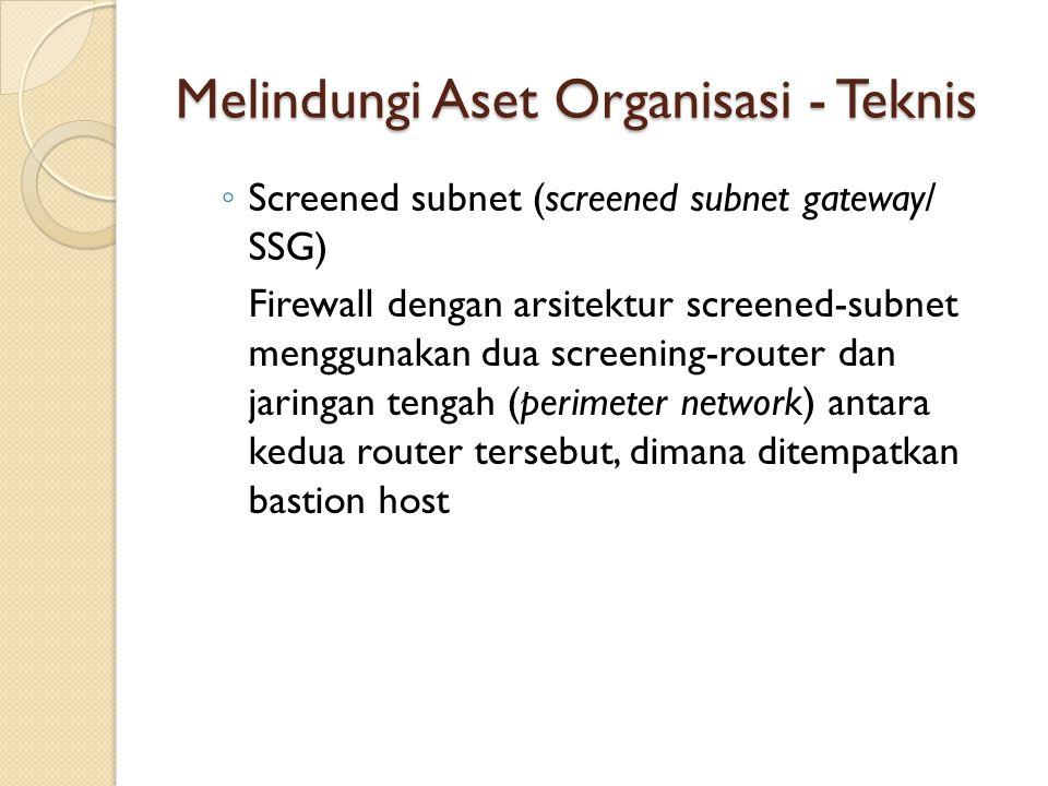 ◦ Screened subnet (screened subnet gateway/ SSG) Firewall dengan arsitektur screened-subnet menggunakan dua screening-router dan jaringan tengah (peri