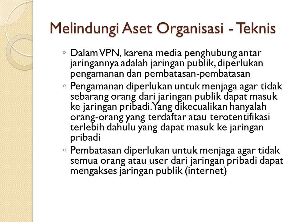 Melindungi Aset Organisasi - Teknis ◦ Dalam VPN, karena media penghubung antar jaringannya adalah jaringan publik, diperlukan pengamanan dan pembatasa