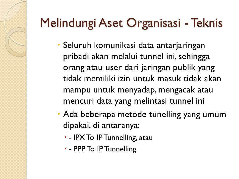 Melindungi Aset Organisasi - Teknis  Seluruh komunikasi data antarjaringan pribadi akan melalui tunnel ini, sehingga orang atau user dari jaringan pu