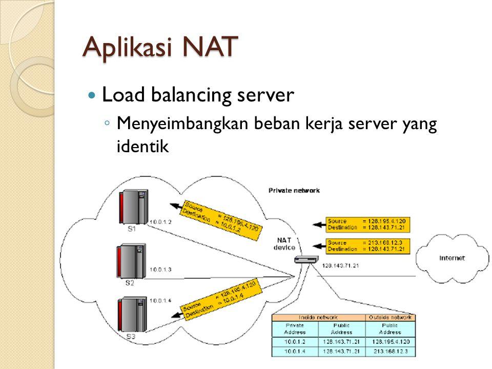 Load balancing server ◦ Menyeimbangkan beban kerja server yang identik