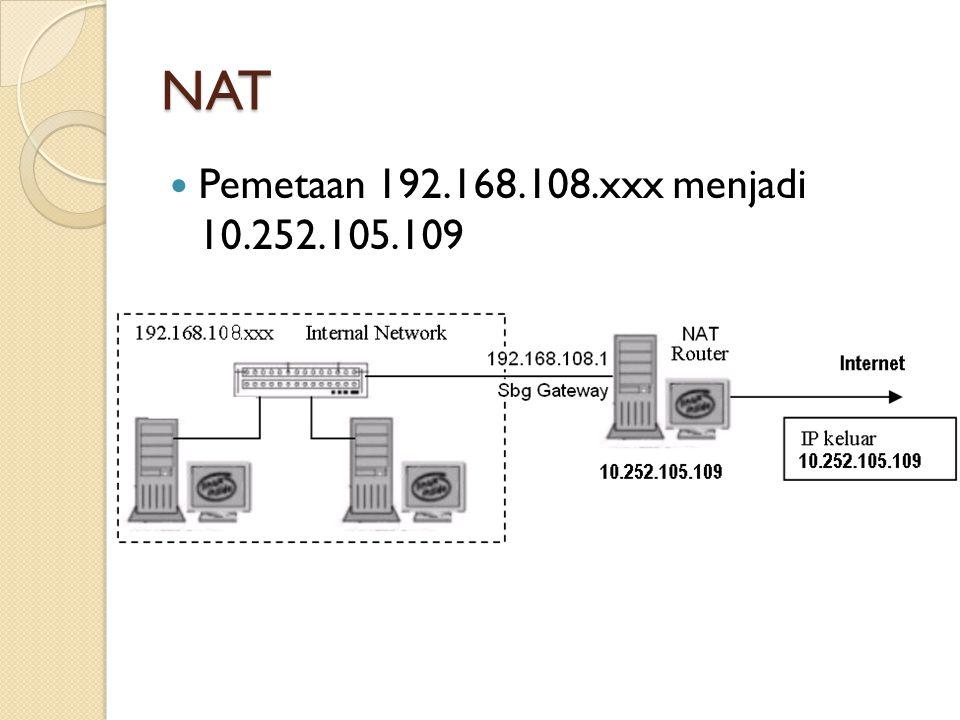 NAT Private IP – Public IP ◦ Private IP address merupakan IP address yang tidak dapat digunakan untuk berkomunikasi melalui internet ◦ Range private IP address:  10.0.0.0 – 10.255.255.255  172.16.0.0 – 172.31.255.255  192.168.0.0 – 192.168.255.255