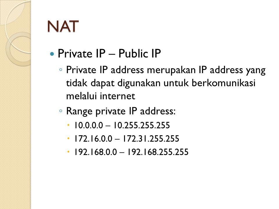 NAT Private IP – Public IP ◦ Private IP address merupakan IP address yang tidak dapat digunakan untuk berkomunikasi melalui internet ◦ Range private I