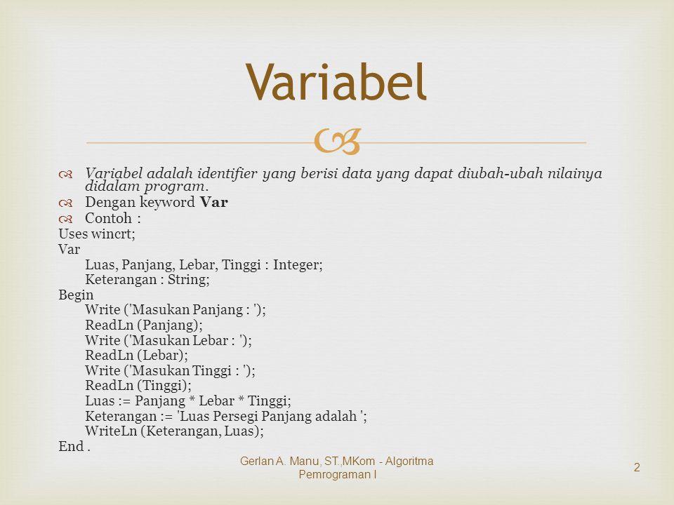   Variabel adalah identifier yang berisi data yang dapat diubah-ubah nilainya didalam program.