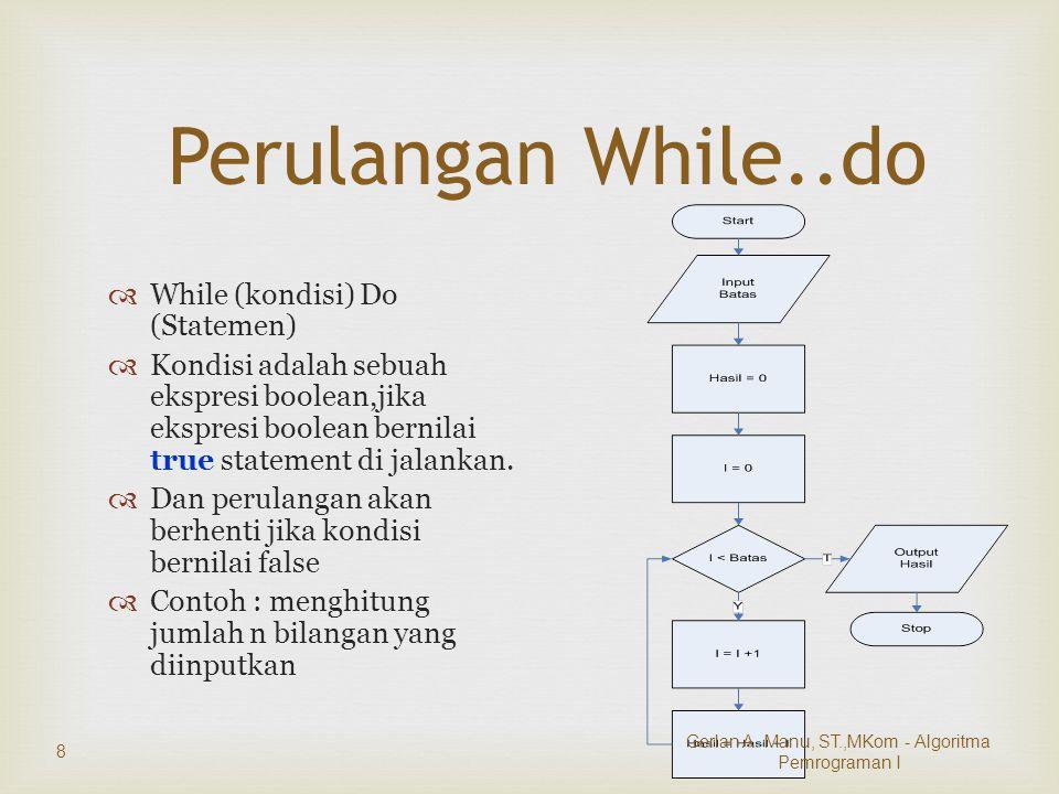 Perulangan While..do  While (kondisi) Do (Statemen)  Kondisi adalah sebuah ekspresi boolean,jika ekspresi boolean bernilai true statement di jalankan.