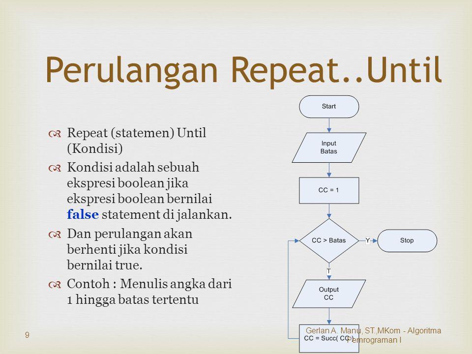 Perulangan Repeat..Until  Repeat (statemen) Until (Kondisi)  Kondisi adalah sebuah ekspresi boolean jika ekspresi boolean bernilai false statement di jalankan.