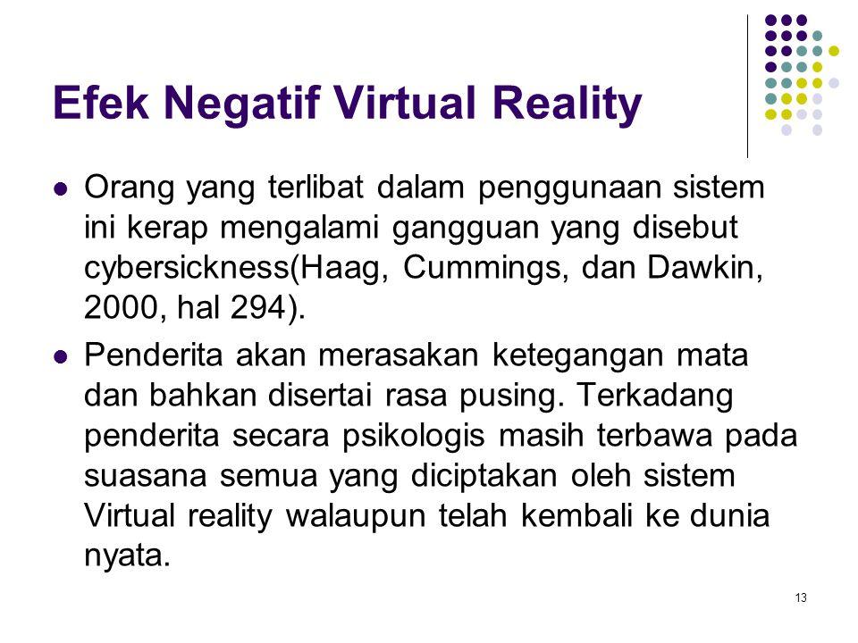 Efek Negatif Virtual Reality Orang yang terlibat dalam penggunaan sistem ini kerap mengalami gangguan yang disebut cybersickness(Haag, Cummings, dan D