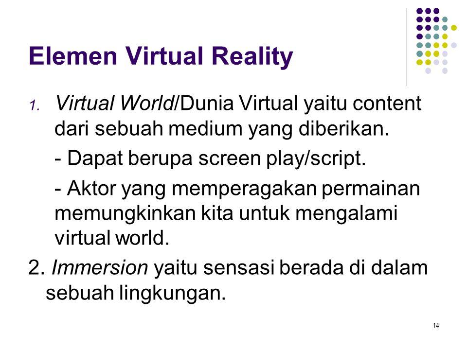 Elemen Virtual Reality 1. Virtual World/Dunia Virtual yaitu content dari sebuah medium yang diberikan. - Dapat berupa screen play/script. - Aktor yang