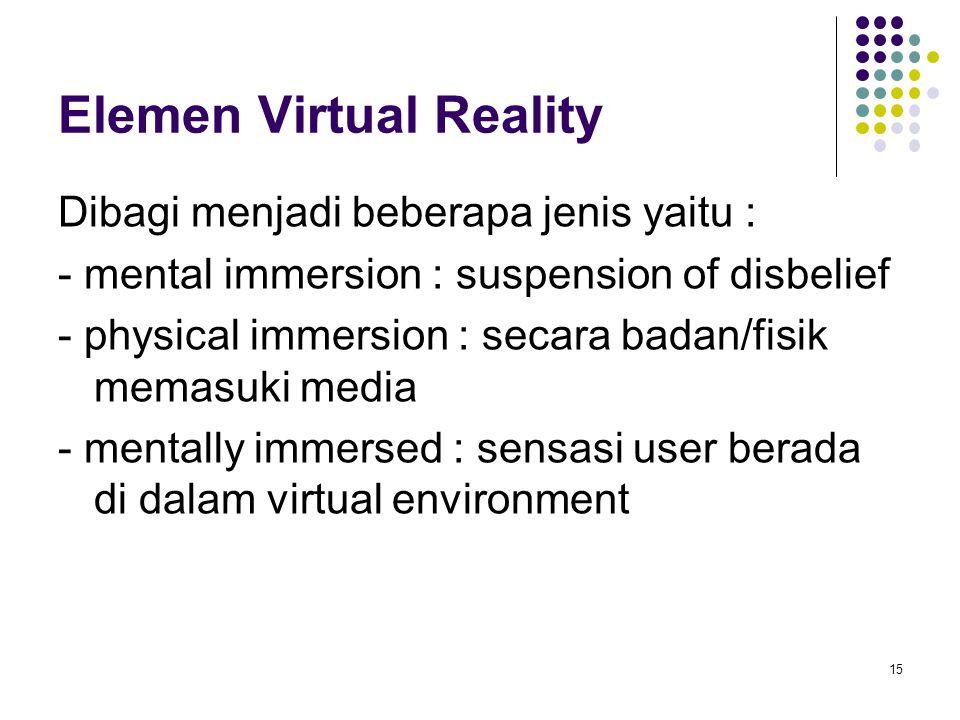 Elemen Virtual Reality Dibagi menjadi beberapa jenis yaitu : - mental immersion : suspension of disbelief - physical immersion : secara badan/fisik me
