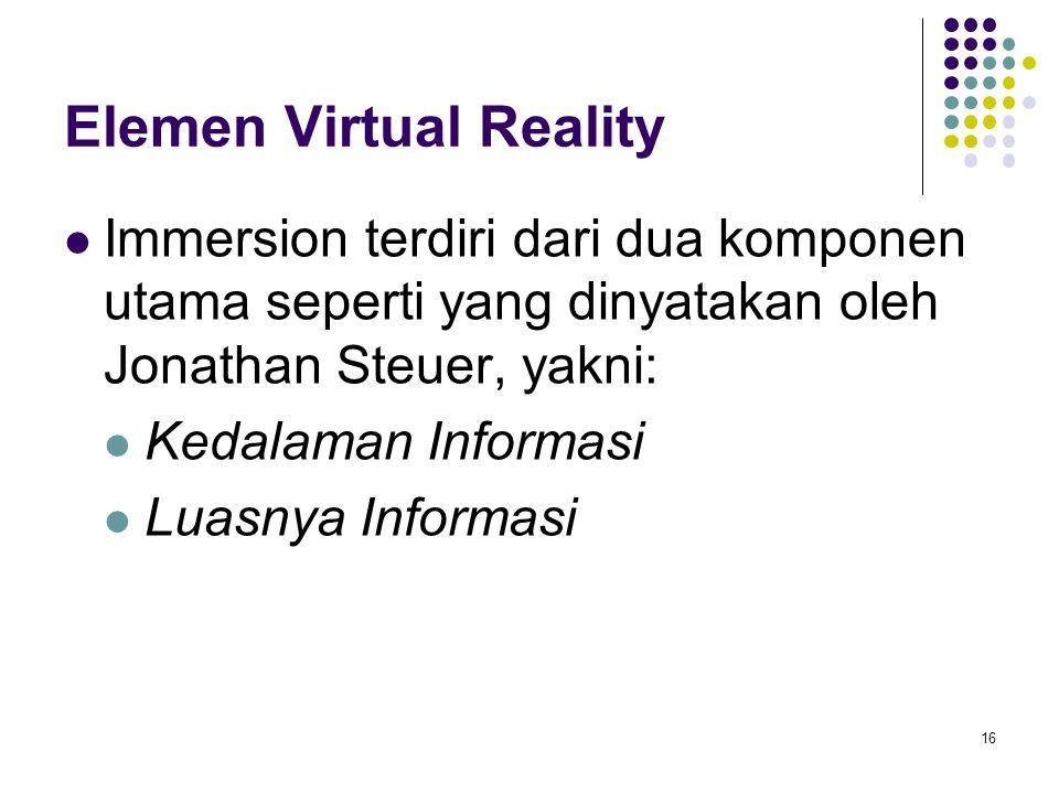 Elemen Virtual Reality Immersion terdiri dari dua komponen utama seperti yang dinyatakan oleh Jonathan Steuer, yakni: Kedalaman Informasi Luasnya Info