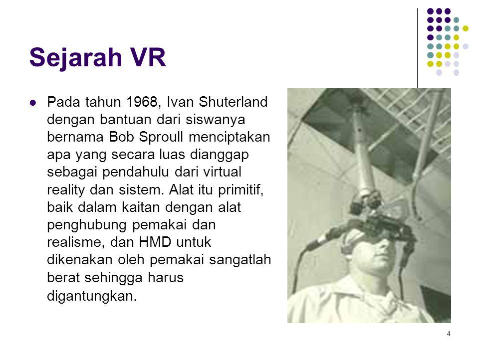 Sejarah VR Pada tahun 1968, Ivan Shuterland dengan bantuan dari siswanya bernama Bob Sproull menciptakan apa yang secara luas dianggap sebagai pendahu