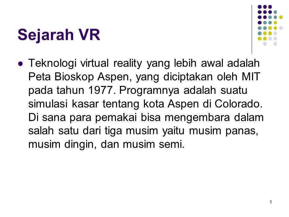Sejarah VR Teknologi virtual reality yang lebih awal adalah Peta Bioskop Aspen, yang diciptakan oleh MIT pada tahun 1977. Programnya adalah suatu simu