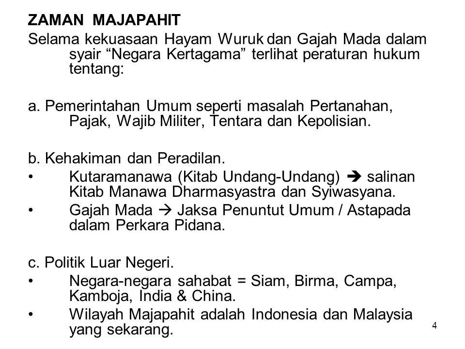 5 ZAMAN ISLAM –Zaman Aceh Darussalam Islam masuk ke Indonesia akhir abad XII dari daerah Aceh (Kesultanan Perlak, Samudra Pasai, Aceh Darussalam) Hukum yang berlaku adalah Hukum Islam berdasarkan ajaran Imam Syafei dan Hukum Adat yang bersendi Hukum Islam.