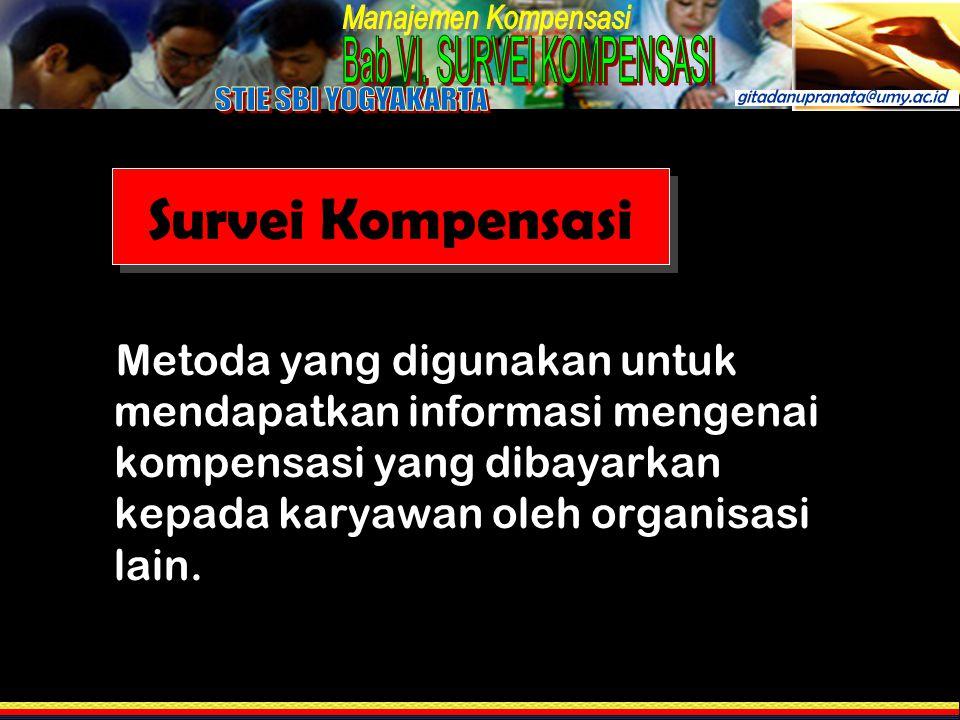 Survei Kompensasi Metoda yang digunakan untuk mendapatkan informasi mengenai kompensasi yang dibayarkan kepada karyawan oleh organisasi lain.