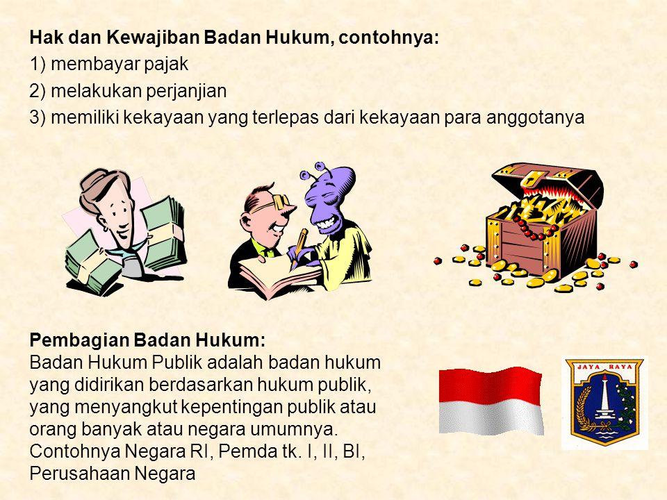 Hak dan Kewajiban Badan Hukum, contohnya: 1) membayar pajak 2) melakukan perjanjian 3) memiliki kekayaan yang terlepas dari kekayaan para anggotanya P