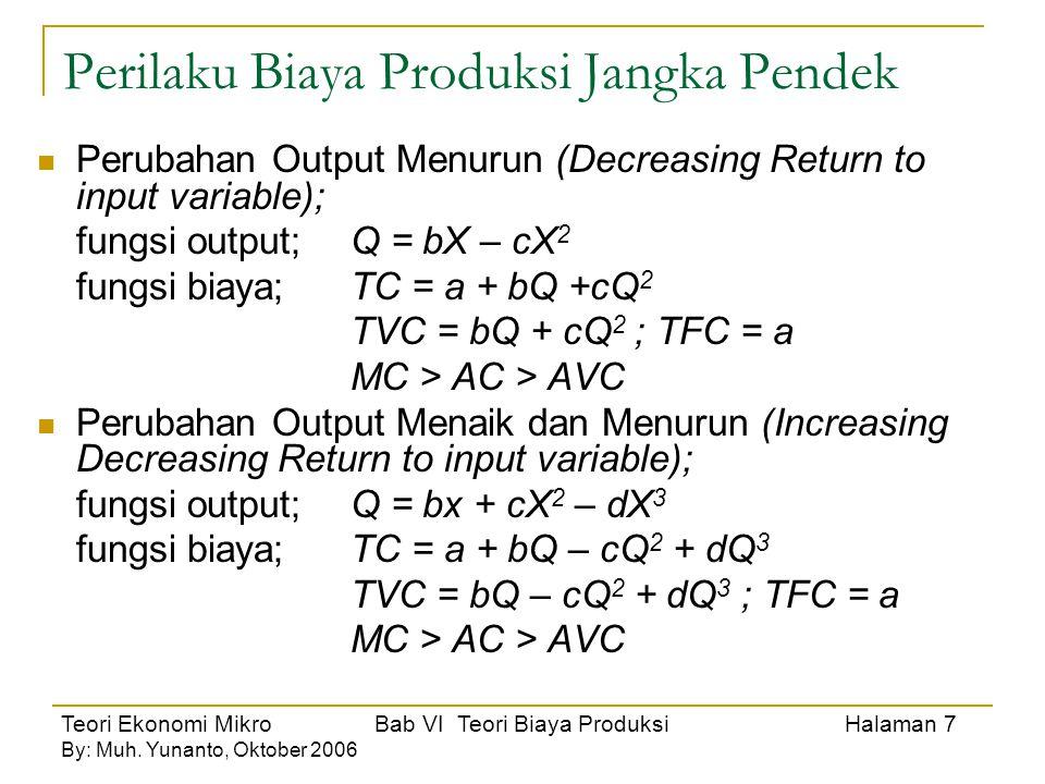 Teori Ekonomi Mikro Bab VI Teori Biaya Produksi Halaman 7 By: Muh. Yunanto, Oktober 2006 Perilaku Biaya Produksi Jangka Pendek Perubahan Output Menuru