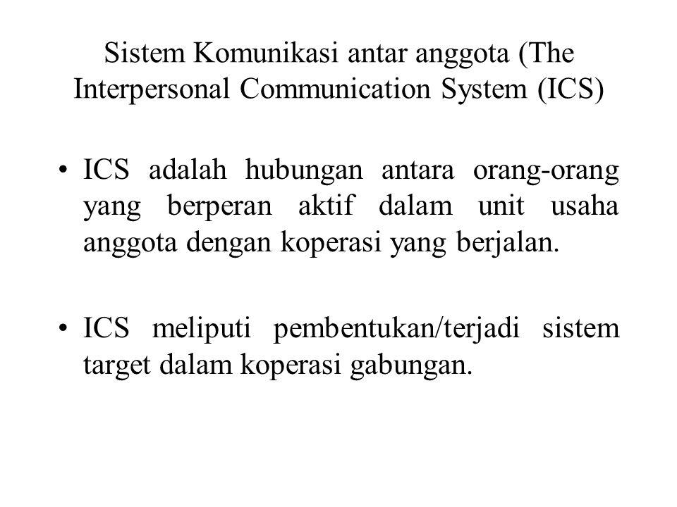 Sistem Komunikasi antar anggota (The Interpersonal Communication System (ICS) ICS adalah hubungan antara orang-orang yang berperan aktif dalam unit usaha anggota dengan koperasi yang berjalan.